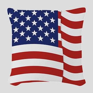 American Flag Waving Woven Throw Pillow