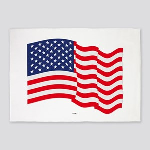 American Flag Waving 5'x7'Area Rug