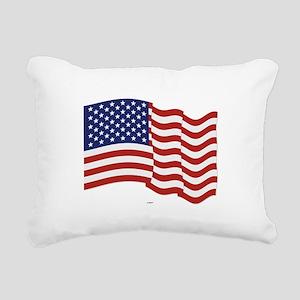 American Flag Waving Rectangular Canvas Pillow
