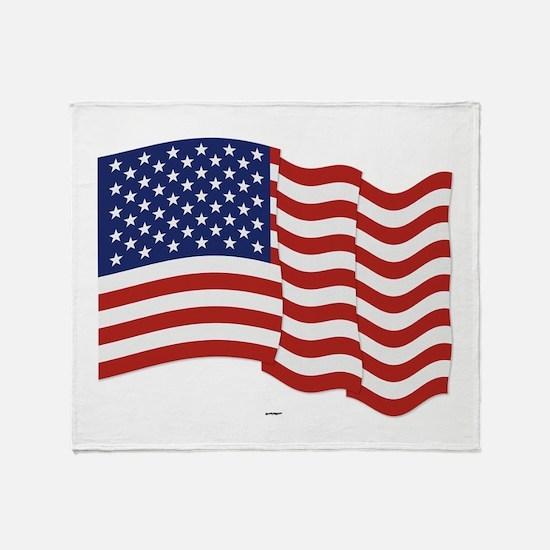 American Flag Waving Throw Blanket