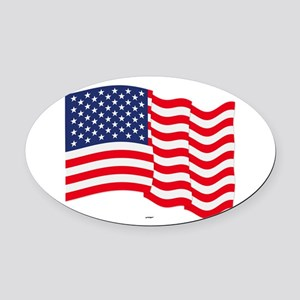 American Flag Waving Oval Car Magnet