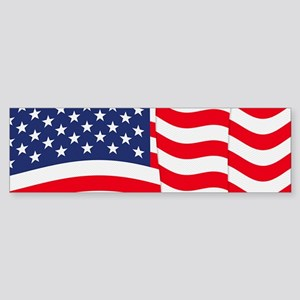 American Flag Waving Bumper Sticker