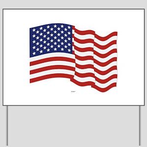 American Flag Waving Yard Sign