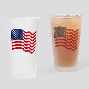 American Flag Waving Drinking Glass