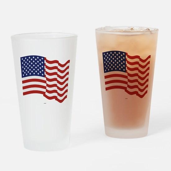 American Flag Waving Drinking Glass
