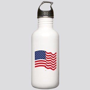 American Flag Waving Water Bottle