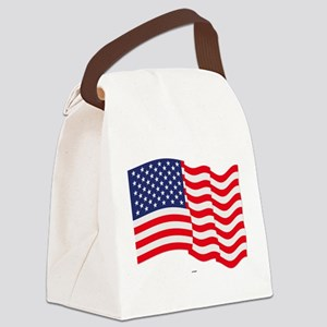 American Flag Waving Canvas Lunch Bag