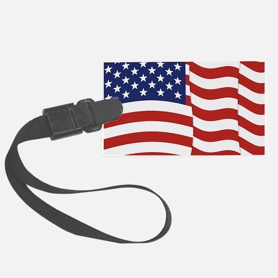American Flag Waving Luggage Tag
