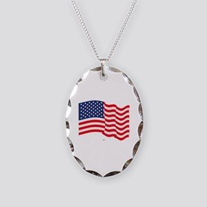 American Flag Waving Necklace Oval Charm