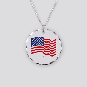 American Flag Waving Necklace Circle Charm