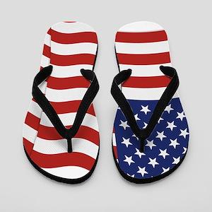 American Flag Waving Flip Flops