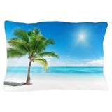 Palm tree and beach scene Pillow Cases