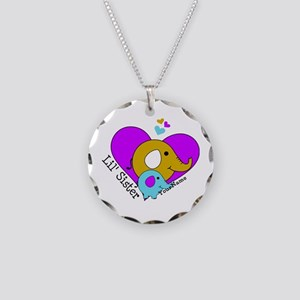 Lil Sister Elephant Personal Necklace Circle Charm
