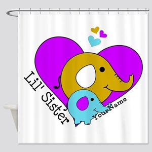 Lil Sister Elephant Personalized Shower Curtain