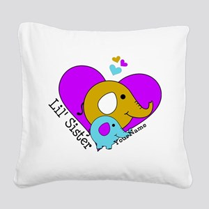 Lil Sister Elephant Personali Square Canvas Pillow