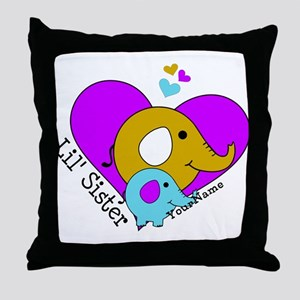 Lil Sister Elephant Personalized Throw Pillow