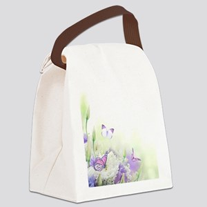 Flowers with Butterflies Canvas Lunch Bag