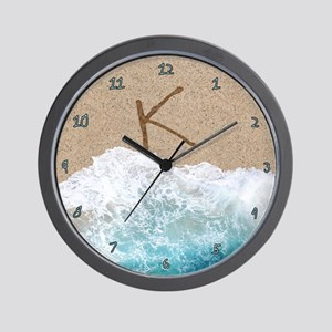 LETTERS IN SAND K Wall Clock