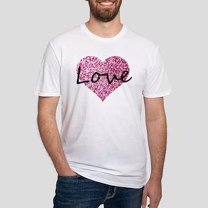 Love Pink Glitter Heart T-Shirt