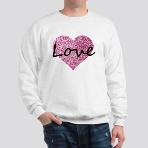 Love Pink Glitter Heart Sweatshirt