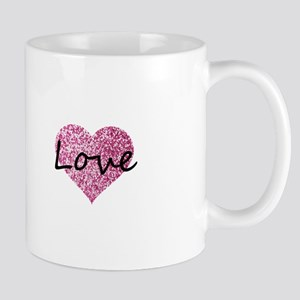 Love Pink Glitter Heart Mugs
