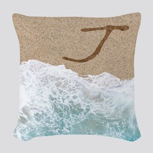 LETTERS IN SAND J Woven Throw Pillow
