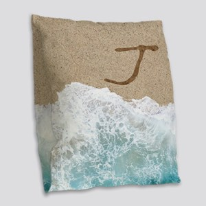 LETTERS IN SAND J Burlap Throw Pillow