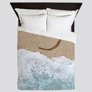 LETTERS IN SAND J Queen Duvet