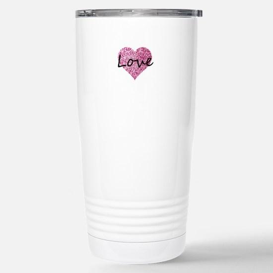 Love Pink Glitter Heart Mugs