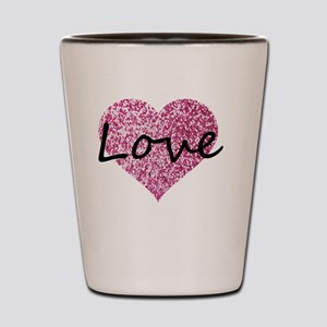 Love Pink Glitter Heart Shot Glass
