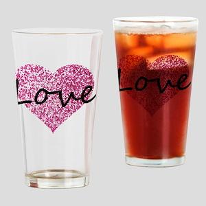 Love Pink Glitter Heart Drinking Glass