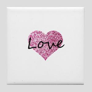 Love Pink Glitter Heart Tile Coaster