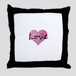 Love Pink Glitter Heart Throw Pillow