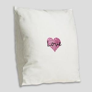 Love Pink Glitter Heart Burlap Throw Pillow