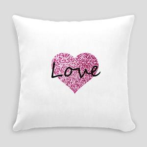 Love Pink Glitter Heart Everyday Pillow