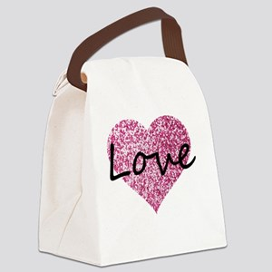 Love Pink Glitter Heart Canvas Lunch Bag