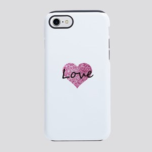 Love Pink Glitter Heart iPhone 7 Tough Case