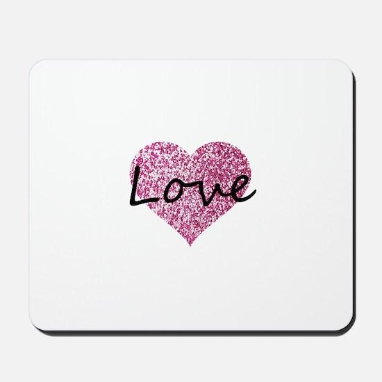 Love Pink Glitter Heart Mousepad