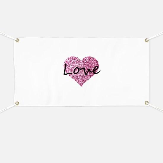 Love Pink Glitter Heart Banner