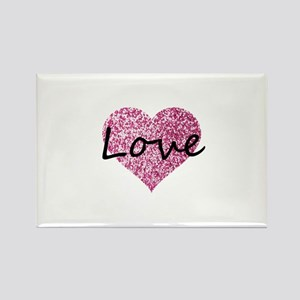 Love Pink Glitter Heart Magnets