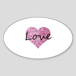 Love Pink Glitter Heart Sticker
