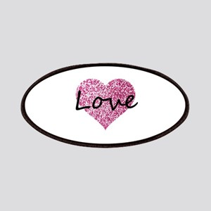 Love Pink Glitter Heart Patch