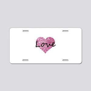 Love Pink Glitter Heart Aluminum License Plate
