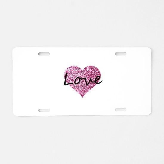 Love Pink Glitter Heart Aluminum License Plate