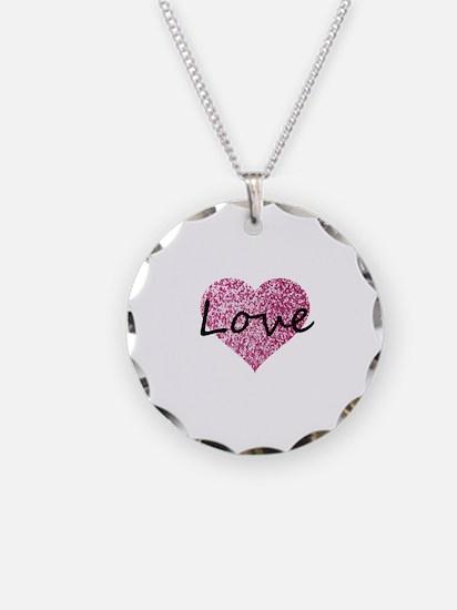Love Pink Glitter Heart Necklace