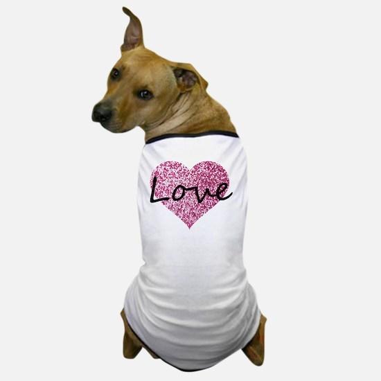 Love Pink Glitter Heart Dog T-Shirt
