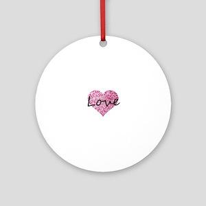 Love Pink Glitter Heart Round Ornament