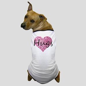 Hugs Pink Glitter Heart Dog T-Shirt