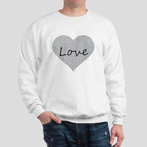 Love Silver Glitter Heart Sweatshirt