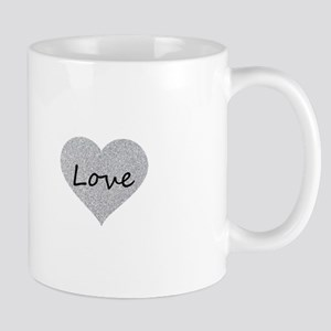 Love Silver Glitter Heart Mugs